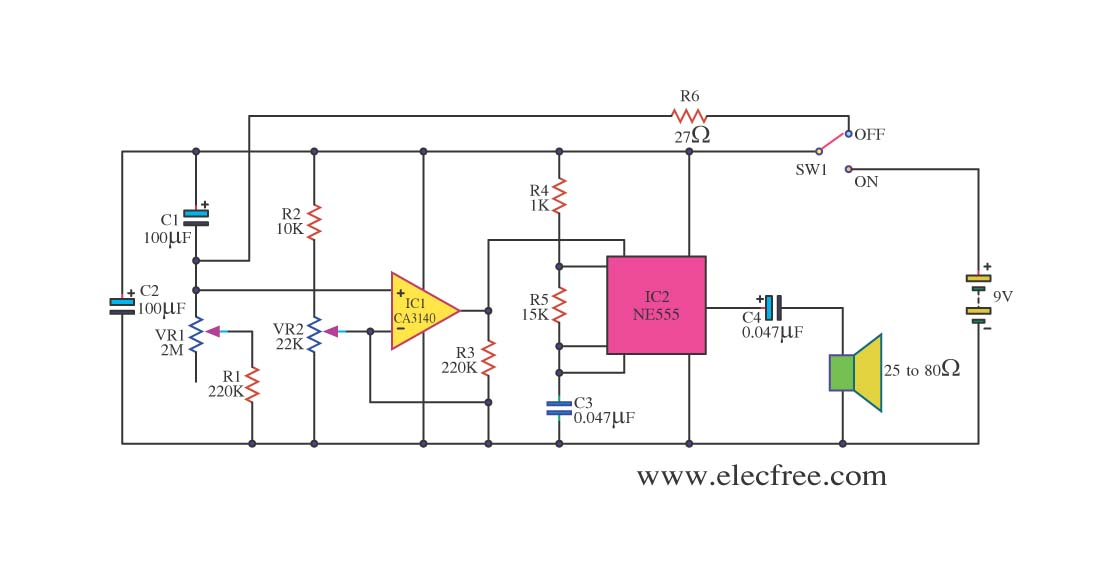 Simple Timer by CA3140 + NE555 - schematic
