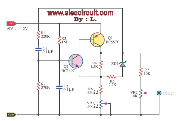 adjustable high low frequency sine wave generator index listing ofsine wave oscillator circuit page 4 oscillator circuits next grsine wave oscillator low frequency constant amplitude