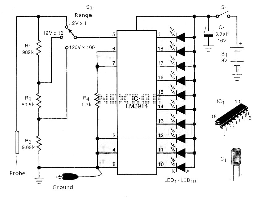 led display voltmeter in probe model circuit
