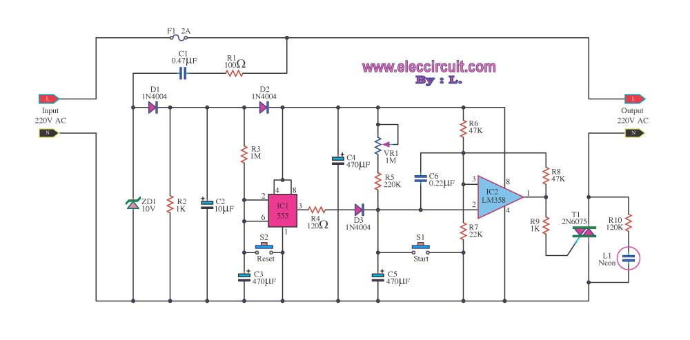 timer control 1 15 minutes by triac 2n6075 and lm555 lm358 - schematic
