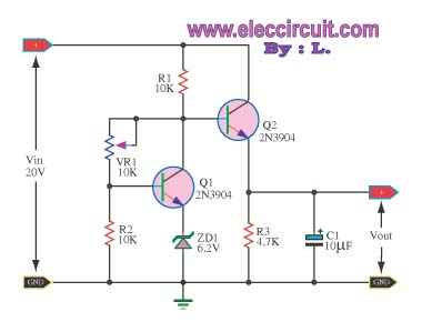 Transistor regulator circuit can adjustable output voltage