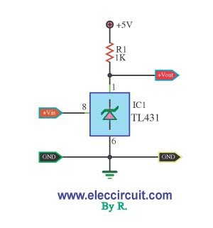 Voltage detector by IC TL431 - schematic