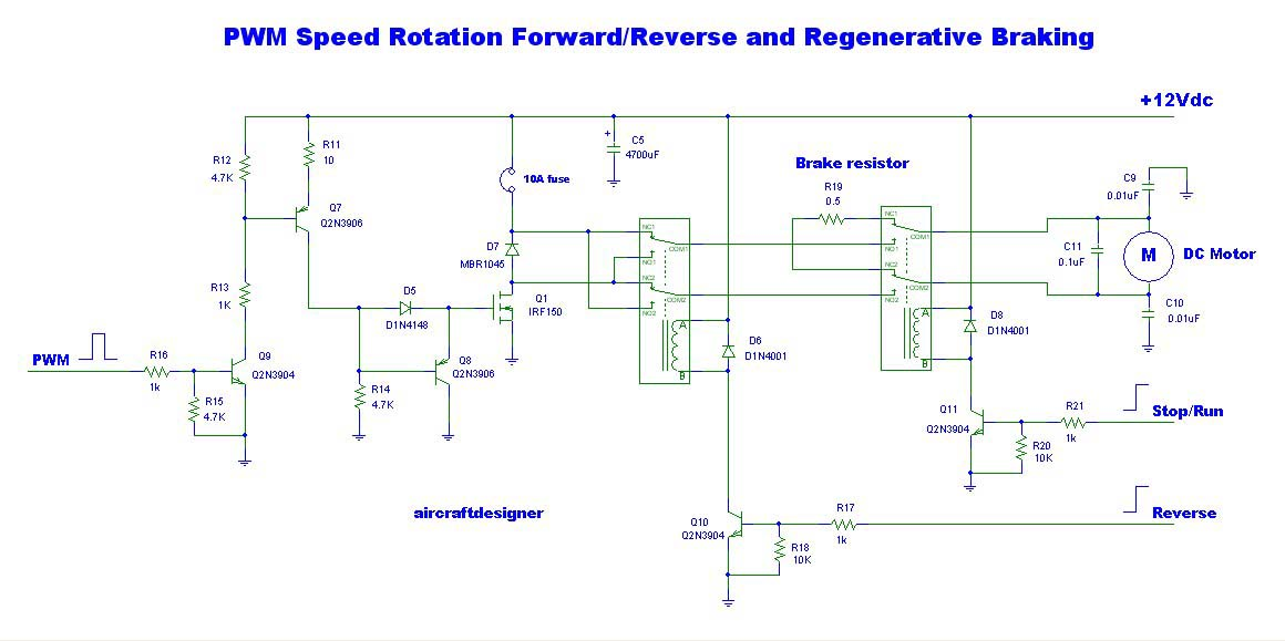 Circuits pwm speed rotation forard reverse and for Regenerative dc motor control
