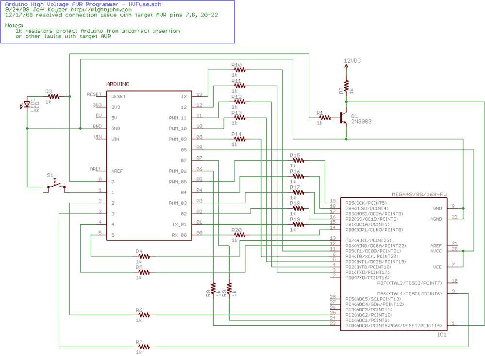 Arduino-based AVR High Voltage Programmer - schematic