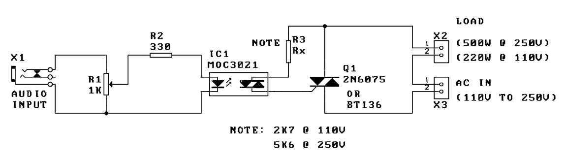 Music to light modulator circuit