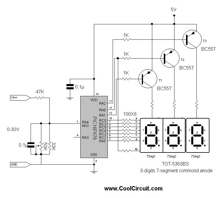 microcontroller voltmeter - schematic