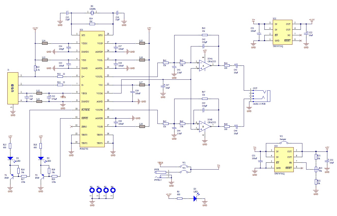 USB sound card with PCM2702 - schematic