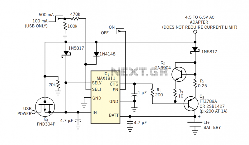 Add current boost to a USB charger - schematic