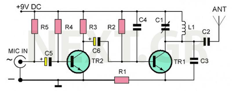 FM Micro-Transmitter Bug Surveillance Circuit - schematic