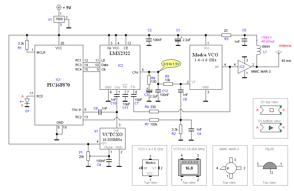 GPS Jammer with PIC16F870 - schematic
