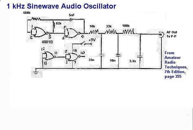 1 KHz Audio Oscillator schematic - schematic