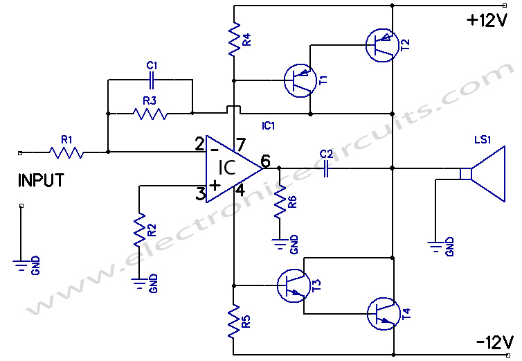 Circuits 12w amplifier using 741 op amp l41487 for Home 741 741