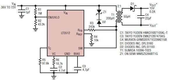 15 volts power supply electronic circuit project using LT3512
