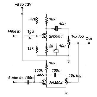 2 channel audio mixer circuit using transistors - schematic