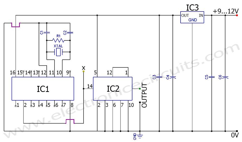 50Hz 60Hz Frequency Generator Circuit Using Crystal Oscillator - schematic