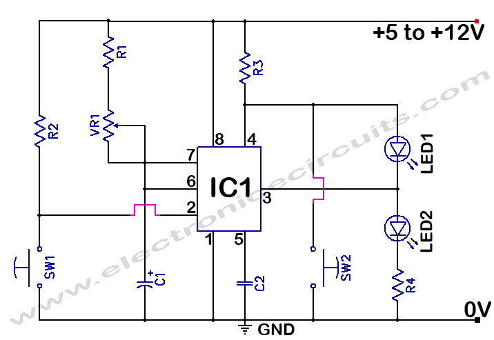 555 Timer Time Delay Circuit - schematic