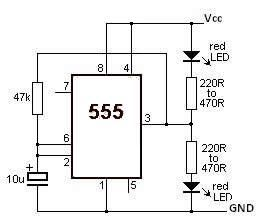 555 timer Led Flasher circuit electronic project - schematic