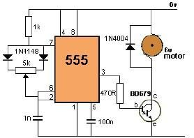 DC motor control using 555 timer circuit - schematic