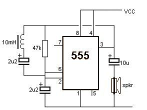 Metal detector with 555 timer - schematic