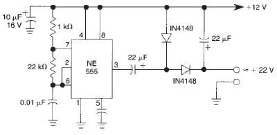 Voltage doubler circuit using 555 timer - schematic