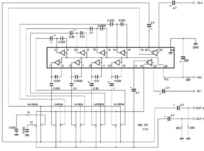 BA3822 five-point stereo graphic equalizer circuit design - schematic