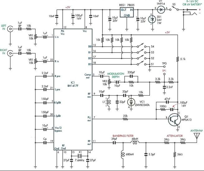 BH1417F FM stereo transmitter electronic project - schematic