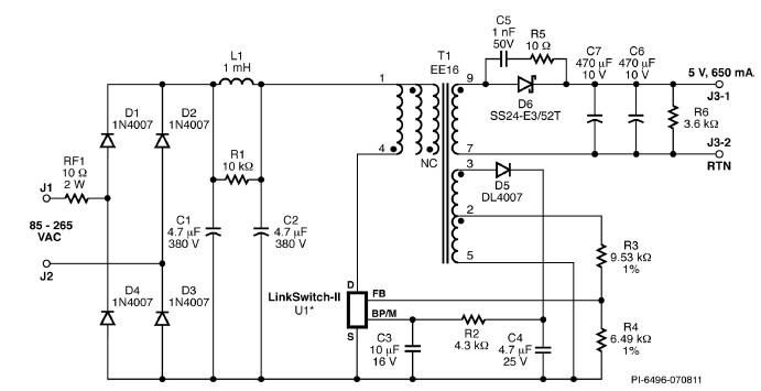 cv  cc charger circuit diagram designed using linkswitch under repository-circuits