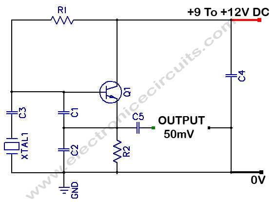 COLPITTS 1 To 20 MHz Crystal Oscillator - schematic