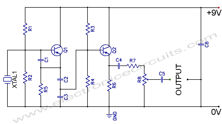 Crystal Controlled Oscillator Circuit - schematic