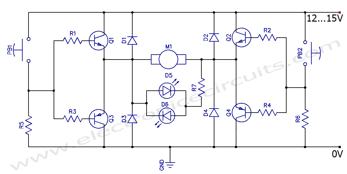 DC Motor Clockwise Anticlockwise Control H-bridge Circuit - schematic