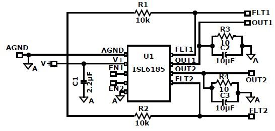 ISL6185 USB power controller circuit design - schematic