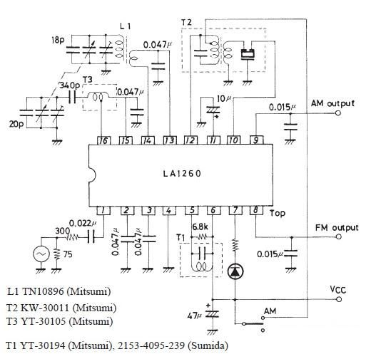 FM IF MW radio receiver circuit using LA1260 integrated circuit - schematic