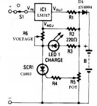 Battery charger using LM317 regulator circuit - schematic