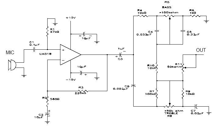 LM318 microphone preamplifier circuit design - schematic