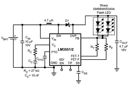 LM3551 LM3552 led driver schematic circuit design