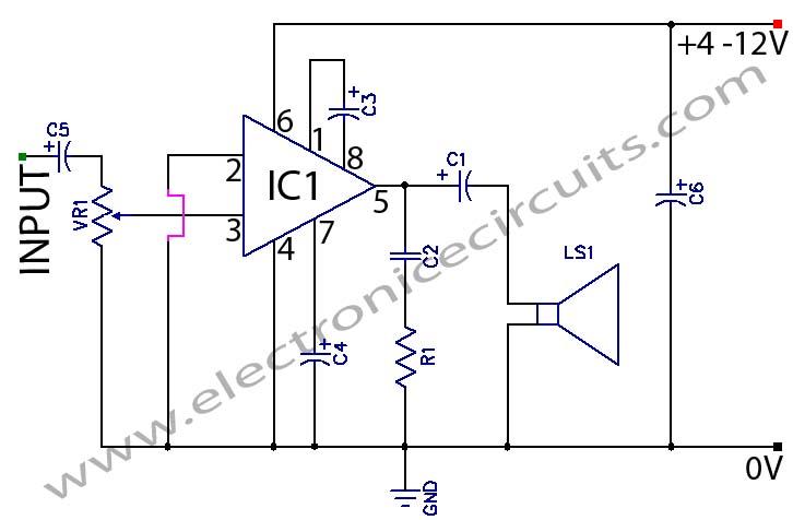 LM386 Low Voltage Audio Power Amplifier - schematic
