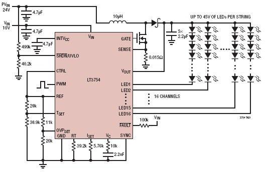 led driver circuit diagram the wiring diagram circuits > lt3754 16 channel led driver circuit design l41355 circuit diagram