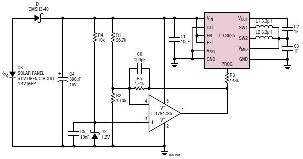 Supercapacitor charger electronic circuit using LTC3625 - schematic