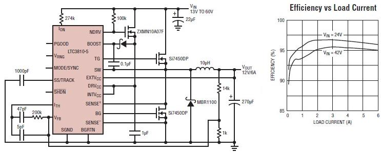 12 volt switching power supply using LTC3810-5 switching regulator - schematic