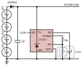 Solar powered battery charger using LTC4071 - schematic