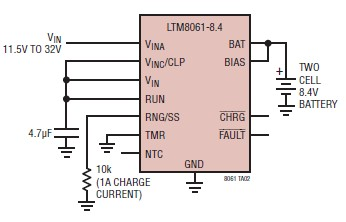 Lithium battery charger schematic circuit design using LTM8061 IC - schematic