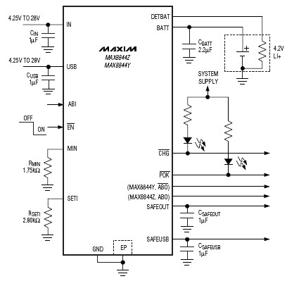 MAX8844 lithium ion charger electronic circuit design - schematic