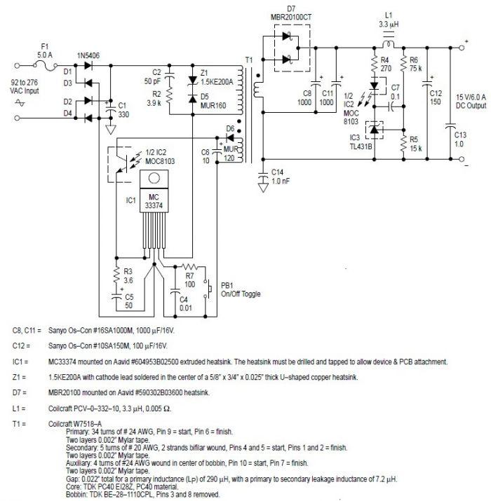 MC33374 high power voltage switching regulator - schematic