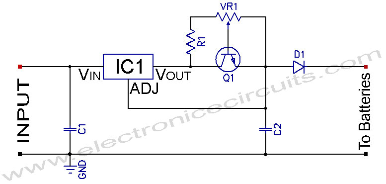 Ni-MH Ni-Cd Adjustable Constant Current Charger - schematic