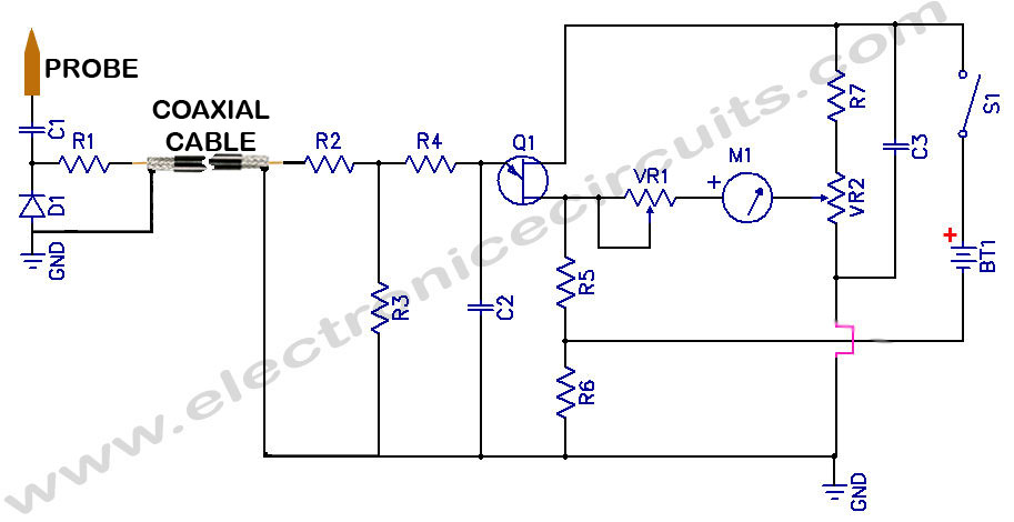 Sensitive RF Voltmeter Probe - schematic