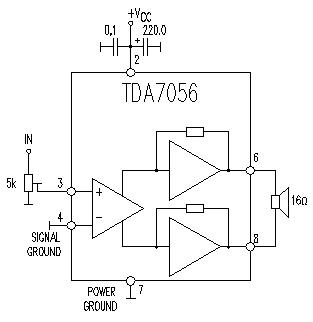 TDA7056 audio amplifier circuit diagram electronic project