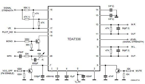 TDA7338 FM stereo decoder circuit design - schematic