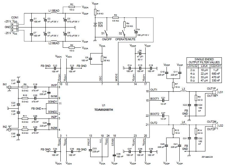TDA8920BTH 200 watts d class amplifier circuit diagram - schematic