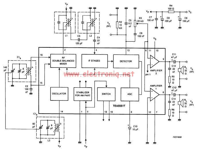 TEA5551T AM radio receiver circuit design electronic project - schematic
