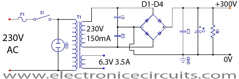 6V6 6J5 Class A Vacuum Tube (Valve) Amplifier Circuit - schematic